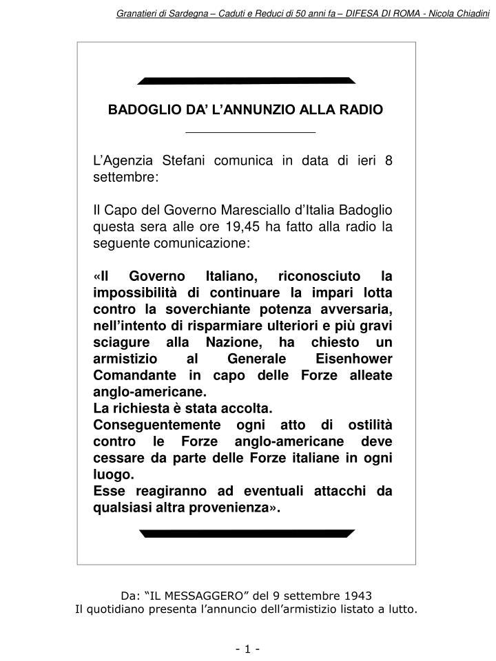 BADOGLIO DA' L'ANNUNZIO ALLA RADIO