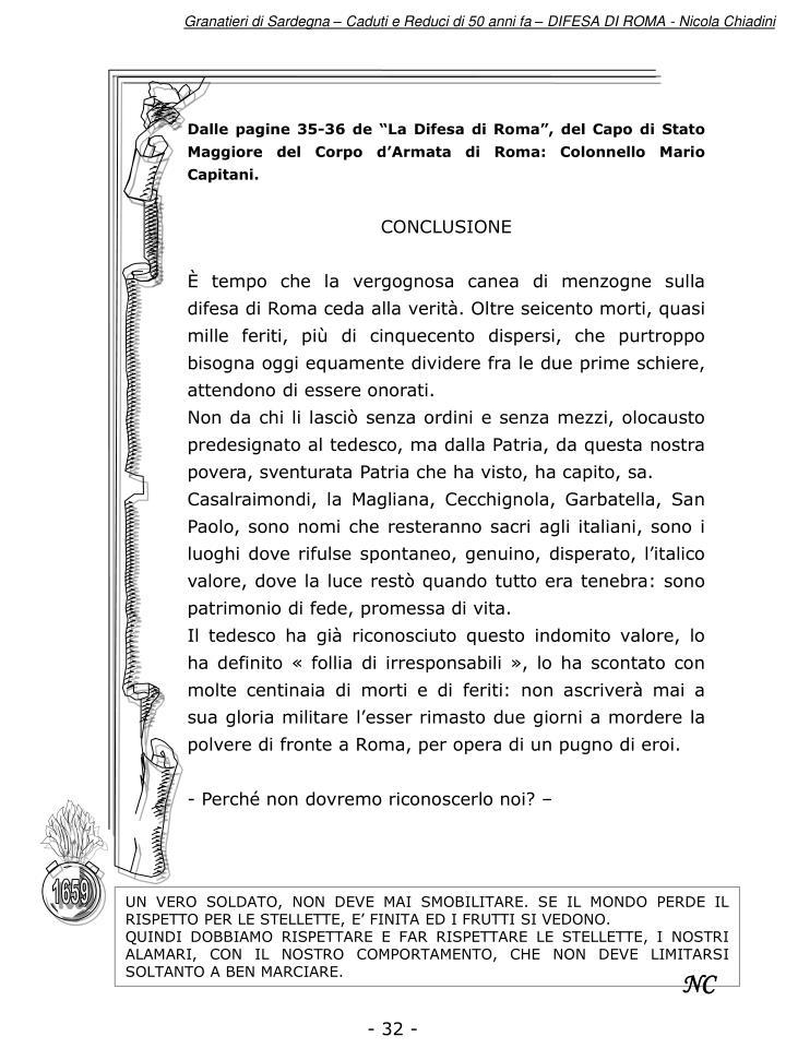 """Dalle pagine 35-36 de """"La Difesa di Roma"""", del Capo di Stato Maggiore del Corpo d'Armata di Roma: Colonnello Mario Capitani."""