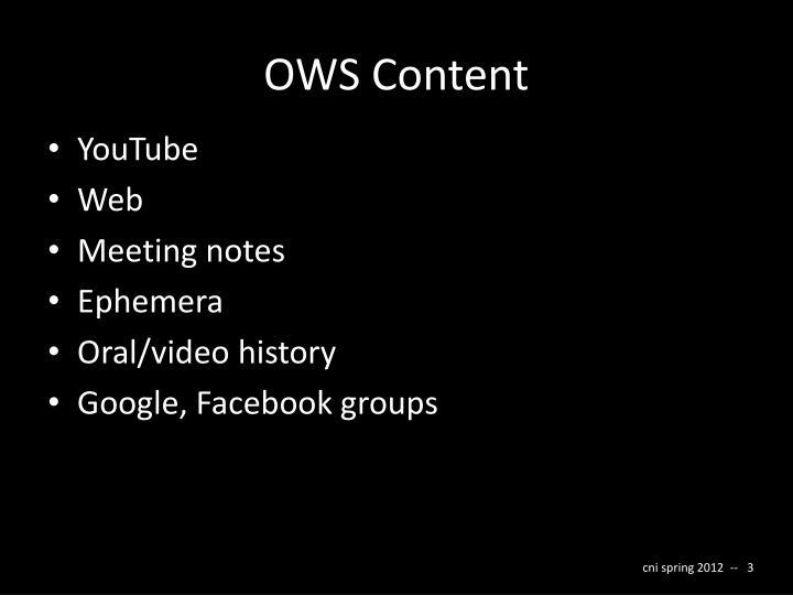 OWS Content