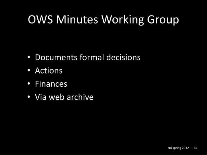 OWS Minutes Working Group