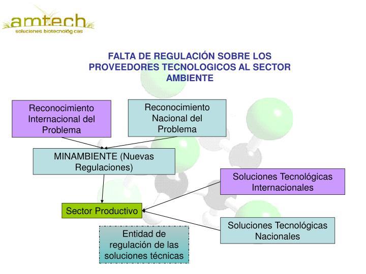 FALTA DE REGULACIÓN SOBRE LOS PROVEEDORES TECNOLOGICOS AL SECTOR AMBIENTE