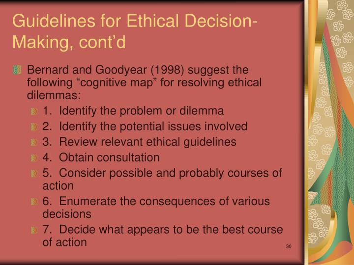 ethical guidelines and courses of action For this reason, the study of ethical-moral way course of action for health students   this includes civic education (which deals with public ethical principles) and.
