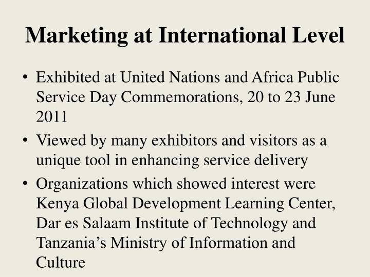 Marketing at International Level