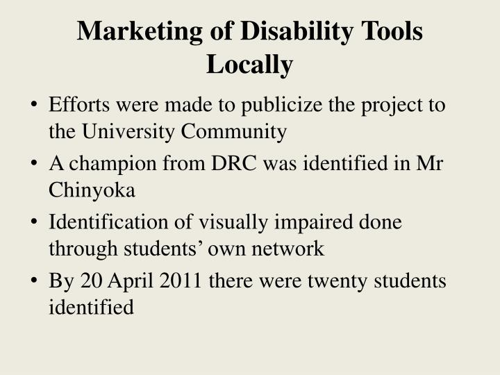 Marketing of Disability Tools