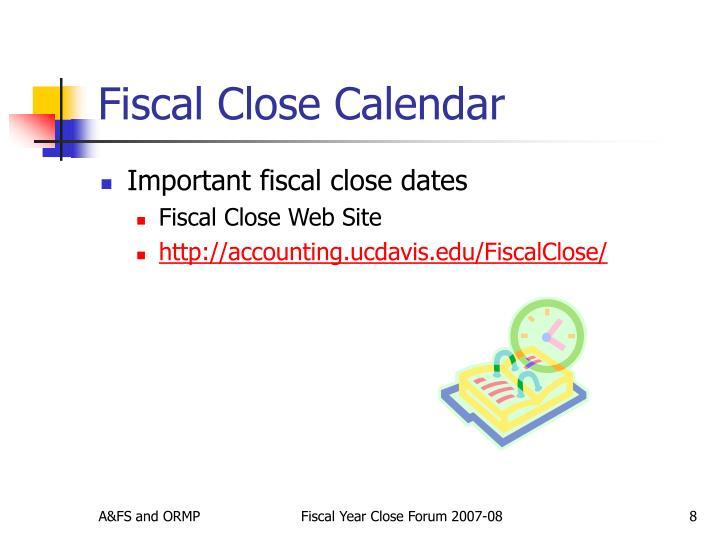 Fiscal Close Calendar