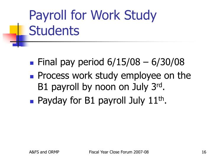 Payroll for Work Study Students