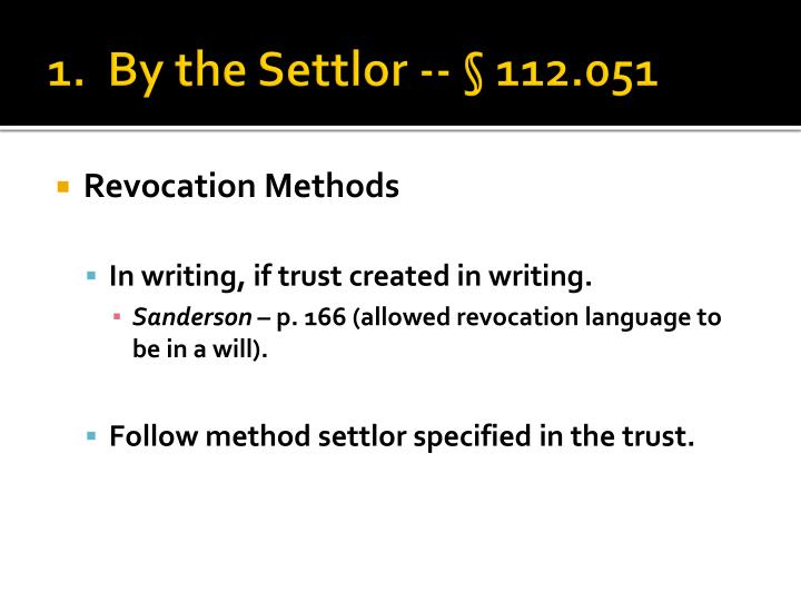 1 by the settlor 112 0511