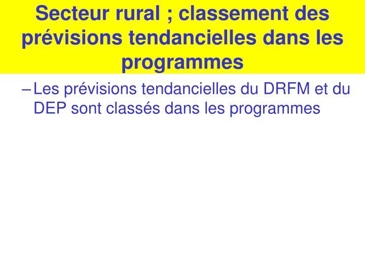 Secteur rural ; classement des prévisions tendancielles dans les programmes