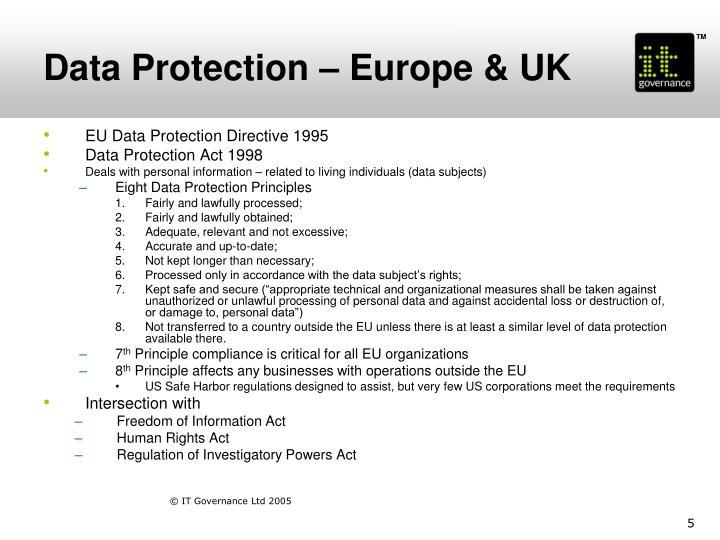 Data Protection – Europe & UK