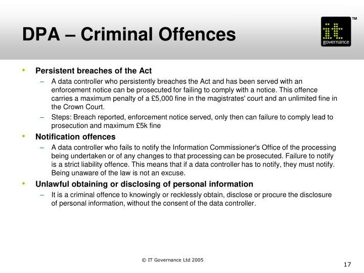 DPA – Criminal Offences