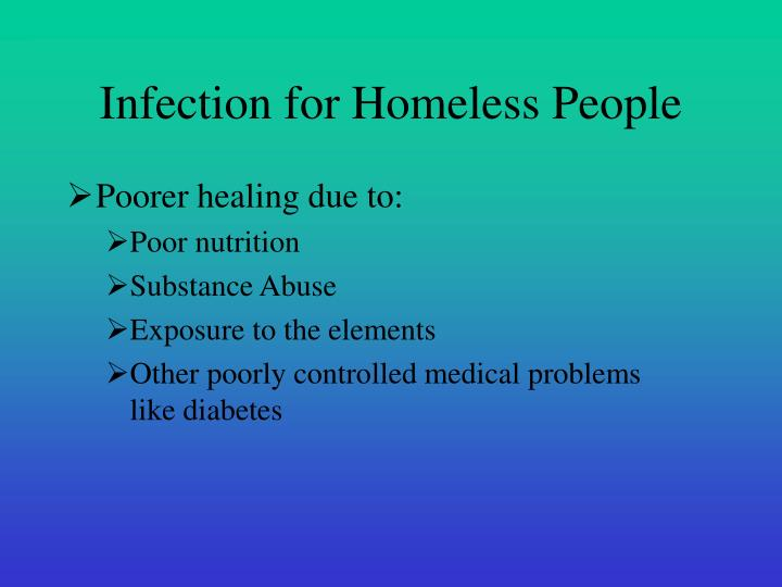 Infection for homeless people