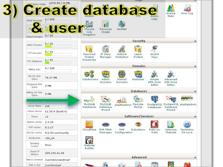3) Create database & user