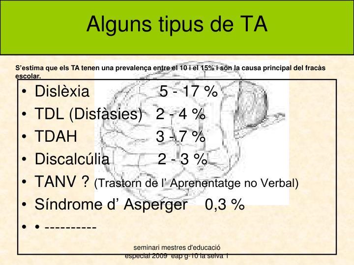 Alguns tipus de TA