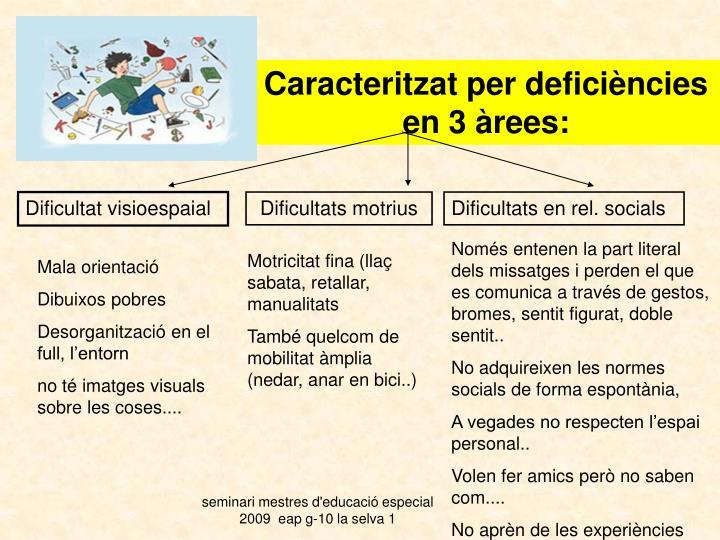Caracteritzat per deficiències en 3 àrees: