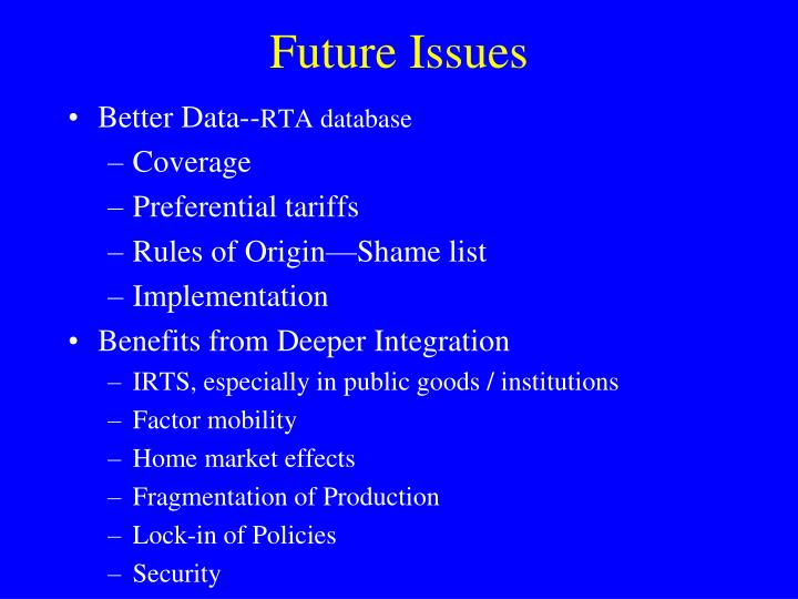 Future Issues