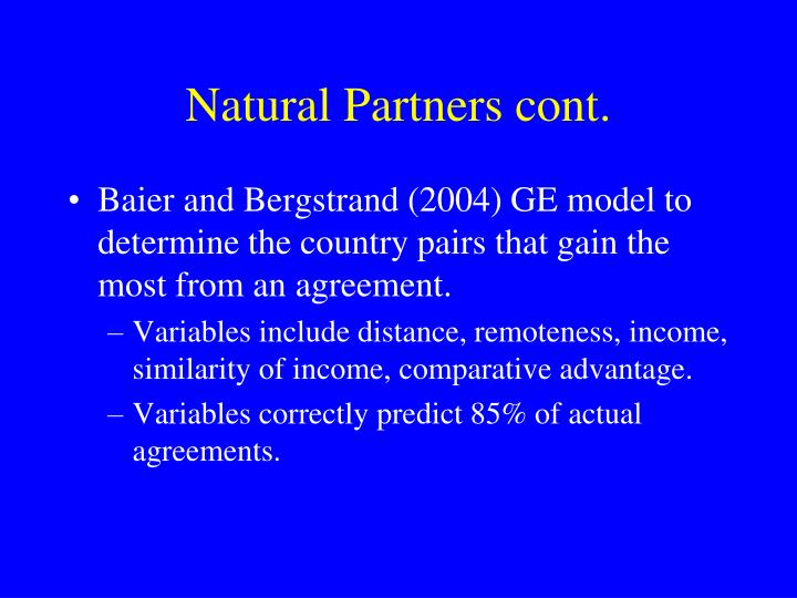 Natural Partners cont.