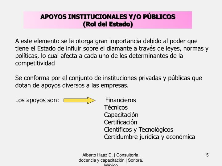 APOYOS INSTITUCIONALES Y/O PÚBLICOS