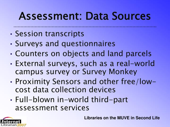Assessment: Data Sources