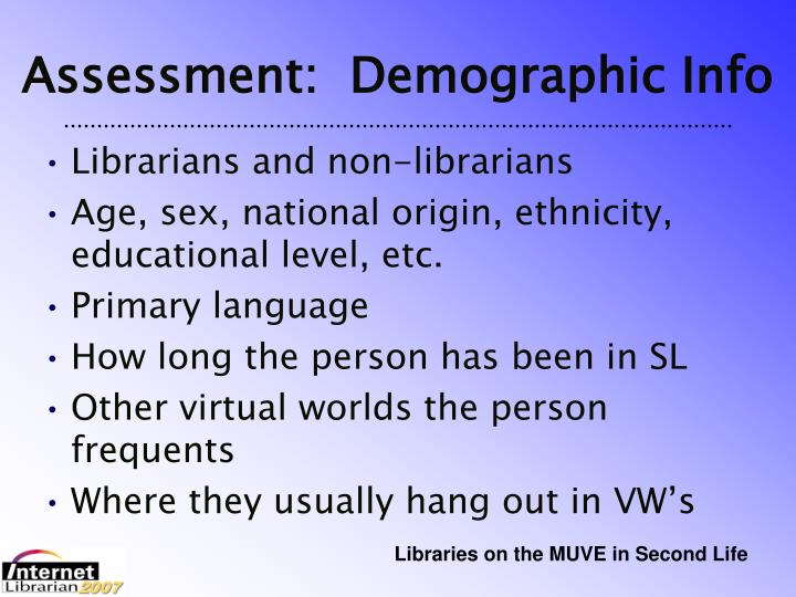 Assessment:  Demographic Info