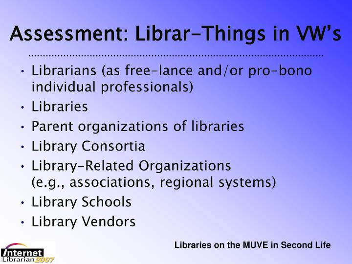 Assessment: Librar-Things in VW's