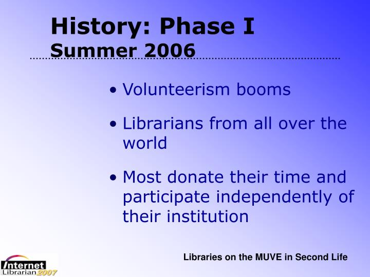 History: Phase I