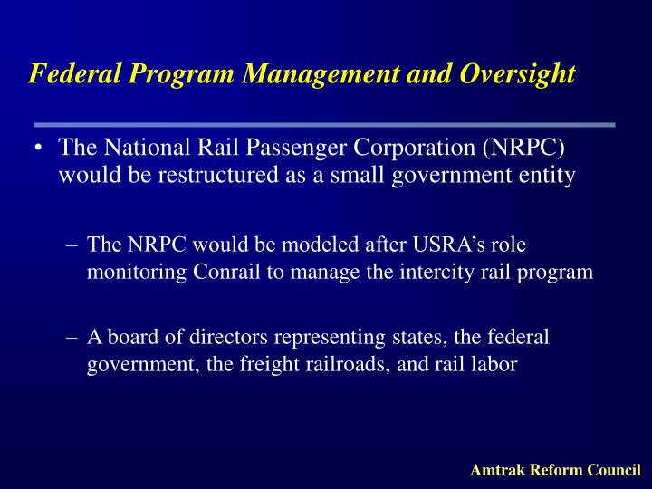Federal Program Management and Oversight