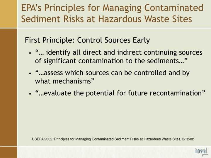 Epa s principles for managing contaminated sediment risks at hazardous waste sites
