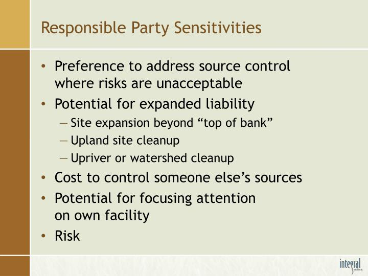 Responsible Party Sensitivities