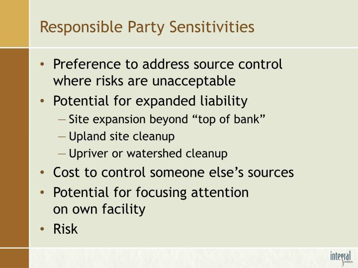 Responsible Party Sensitivities