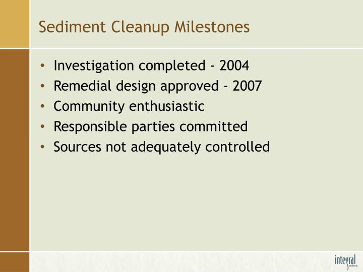 Sediment Cleanup Milestones