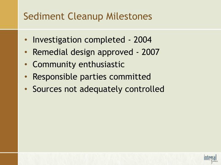 Sediment Cleanup Milestones