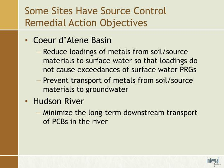 Some Sites Have Source Control Remedial Action Objectives