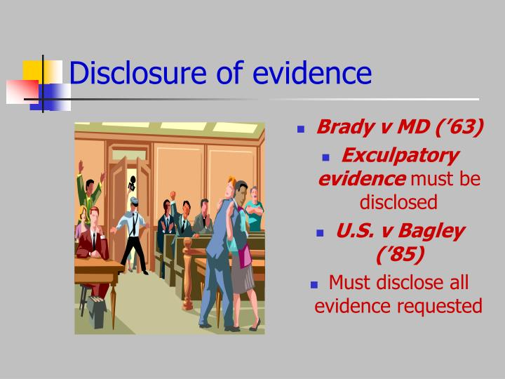 Disclosure of evidence