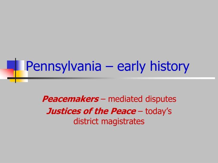 Pennsylvania – early history