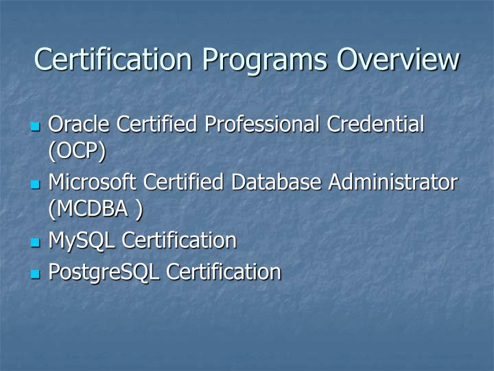 Certification Programs Overview