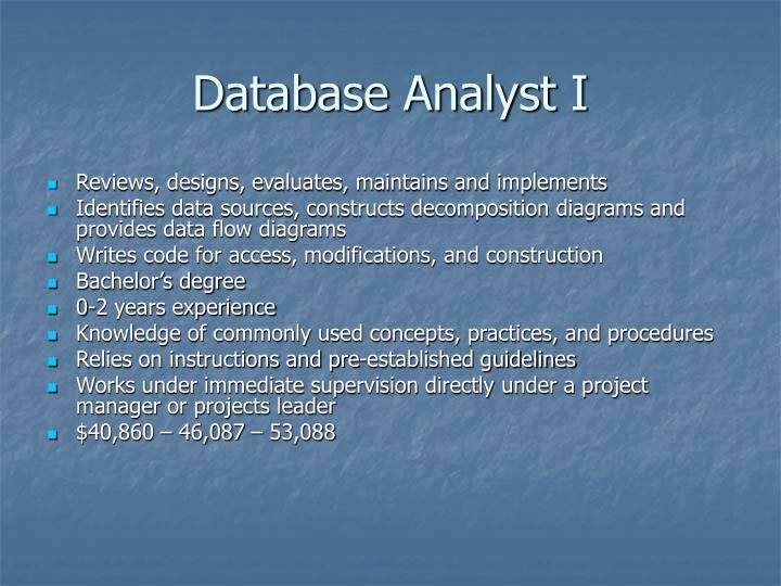 Database Analyst I