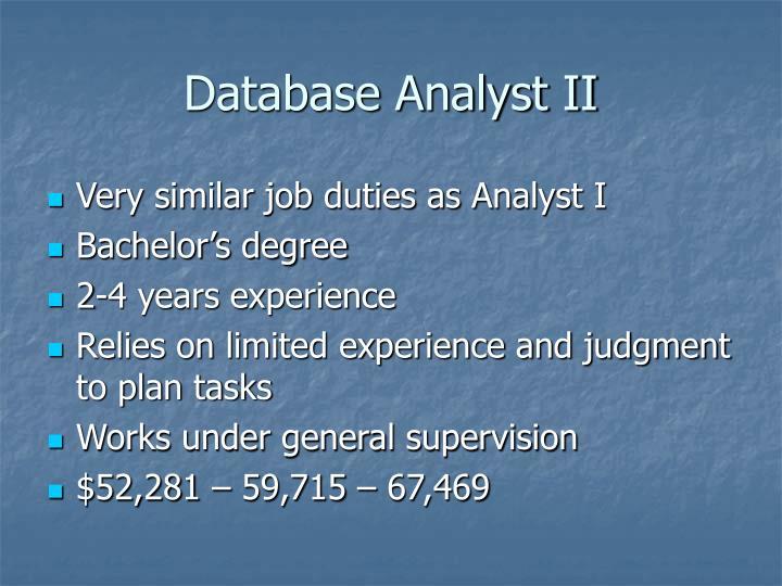 Database Analyst II