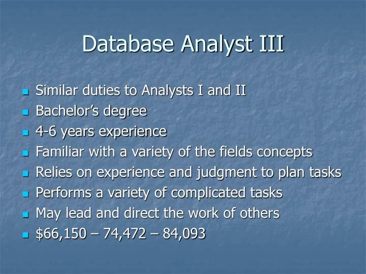 Database Analyst III