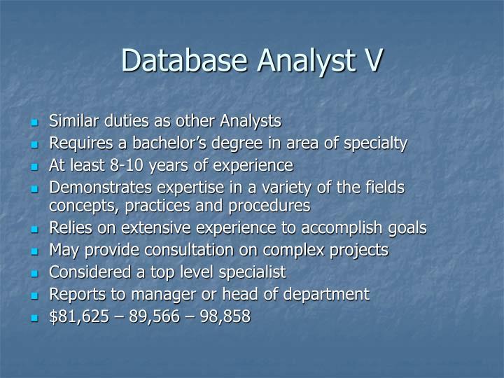 Database Analyst V