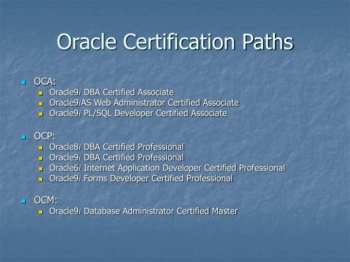 Oracle Certification Paths