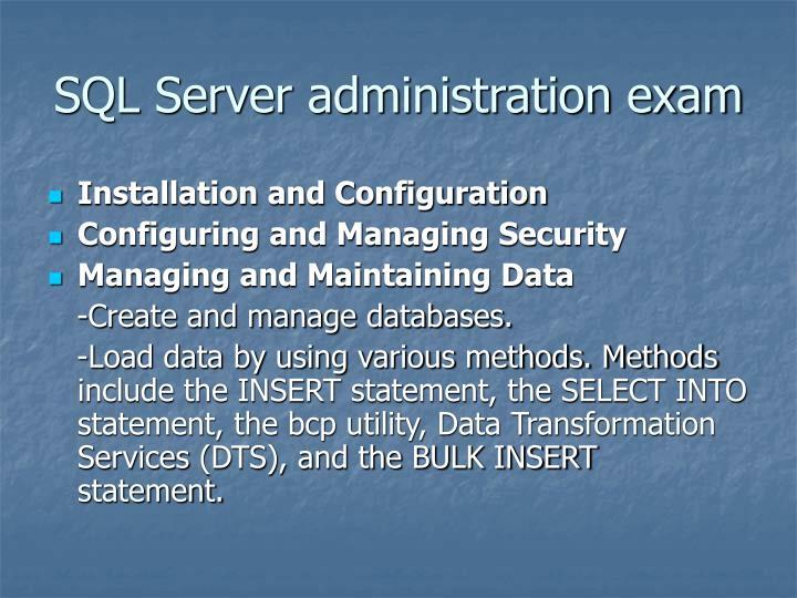 SQL Server administration exam