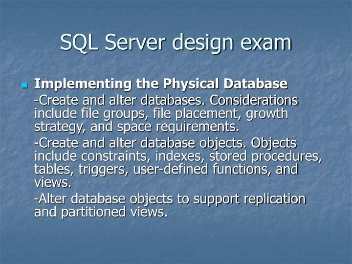 SQL Server design exam