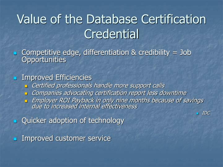Value of the Database Certification Credential