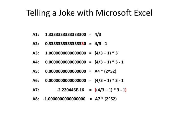 Telling a Joke with Microsoft Excel