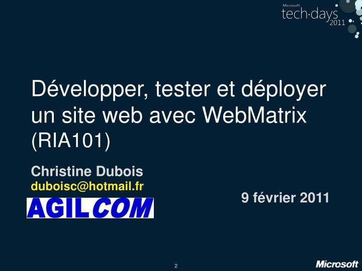 Développer, tester et déployer un site web avec