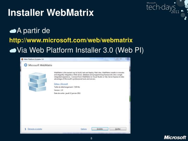 Installer WebMatrix