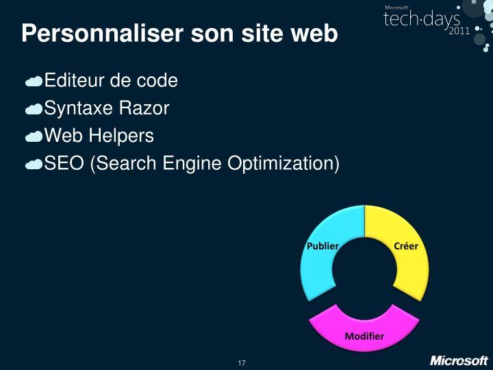 Personnaliser son site web