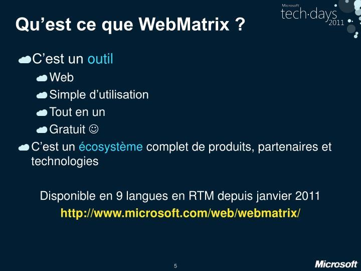 Qu'est ce que WebMatrix ?