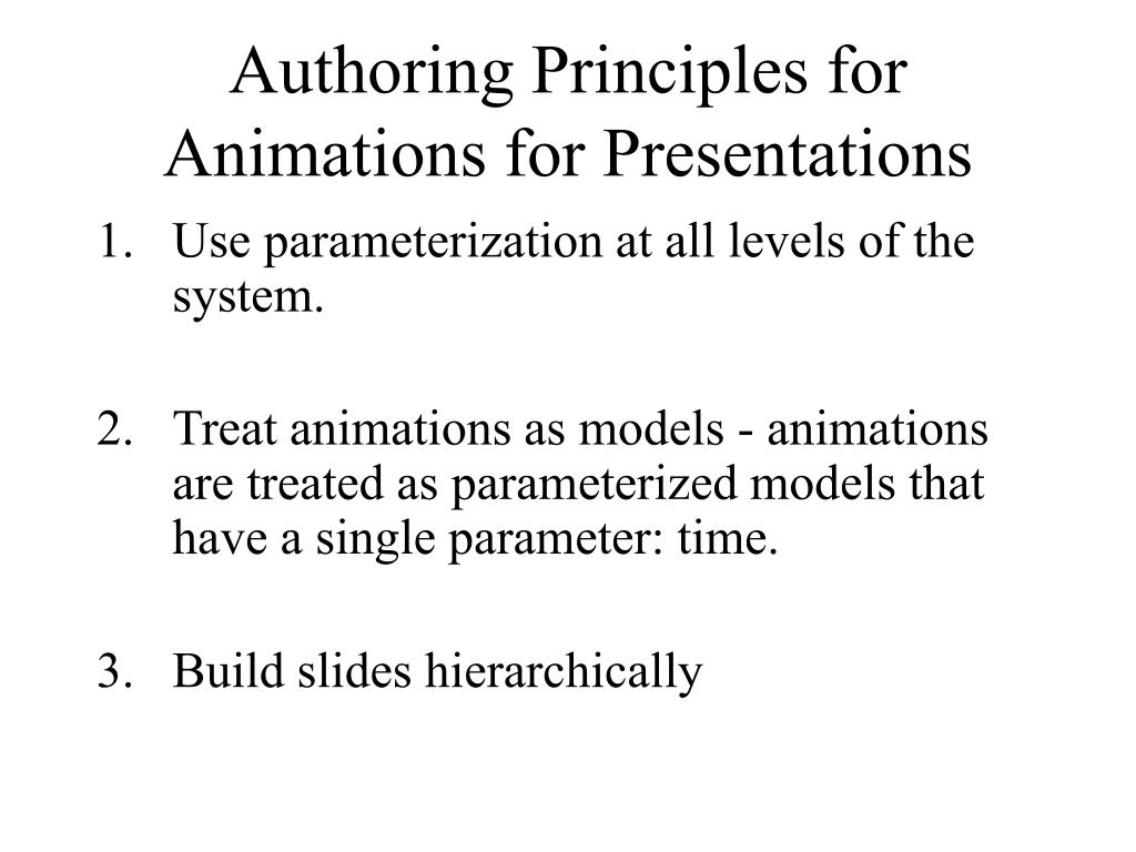 Authoring Principles for Animations for Presentations