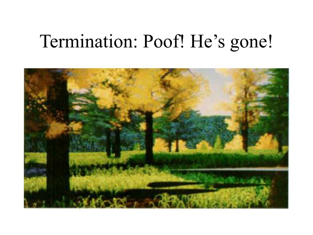 Termination: Poof! He's gone!